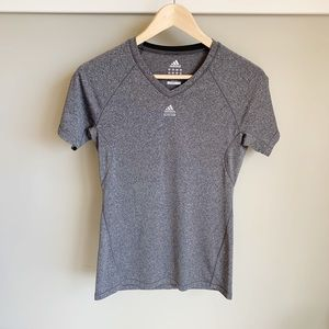 Adidas TechFit Climalite Marled Grey V-neck Tee
